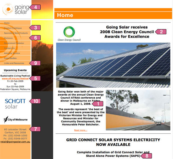 Going Solar homepage annotated