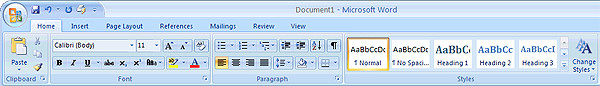 Microsoft Word 2007 ribbon