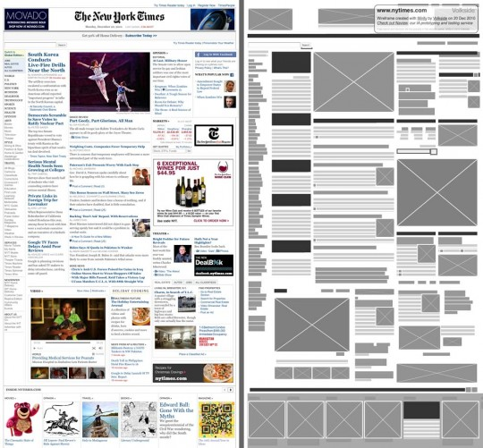 New York Times - Original vs Wirify wireframe