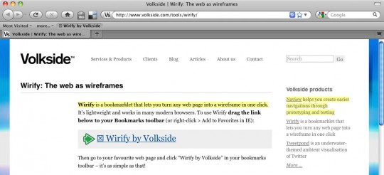 Wirify bookmarklet with visual symbol