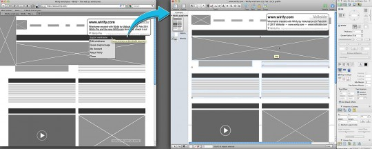 Wirify Pro wireframe export into OmniGraffle example